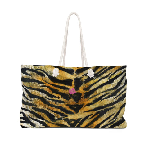 "Tiger Stripe Print Weekender Bag, Animal Pattern Print 24""x13"" Oversized Bag- Made in USA-Weekender Bag-24x13-Heidi Kimura Art LLC"