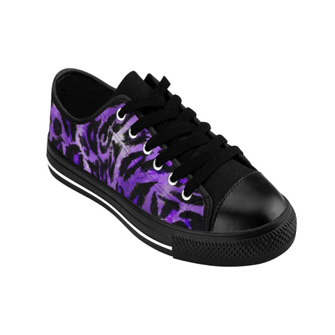 Purple Leopard Animal Print Premium Men's Low Top Canvas Sneakers Running Shoes-Men's Low Top Sneakers-Heidi Kimura Art LLC