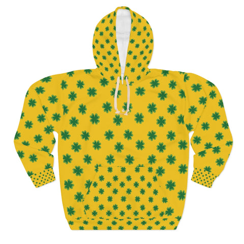 Yellow Green Clover St. Patrick's Day Unisex Pullover Hoodie For Men/Women- Made in USA-Unisex Hoodie-2XL-Heidi Kimura Art LLC