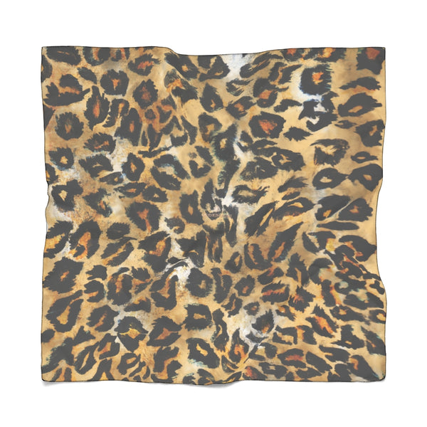Brown Leopard Poly Scarf, Animal Print Premium Fashion Accessories- Made in USA-Accessories-Printify-Poly Chiffon-25 x 25 in-Heidi Kimura Art LLC