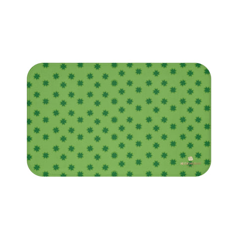 Light Green Clover Print St. Patrick's Day Bathroom Microfiber Bath Mat- Printed in USA-Bath Mat-Large 34x21-Heidi Kimura Art LLC