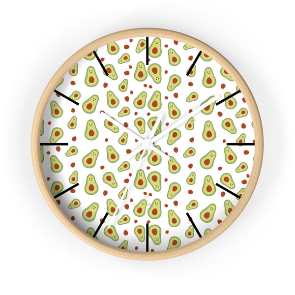 "Avocado Print Large Wall Clocks, 10"" Dia. Clock For Avocado Vegan Lovers- Made in USA-Wall Clock-10 in-Wooden-White-Heidi Kimura Art LLC"