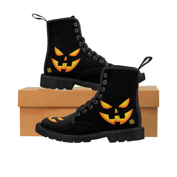 Black Orange Pumpkin Face Halloween Party Designer Women's Canvas Winter Boots-Women's Boots-Black-US 9-Heidi Kimura Art LLC