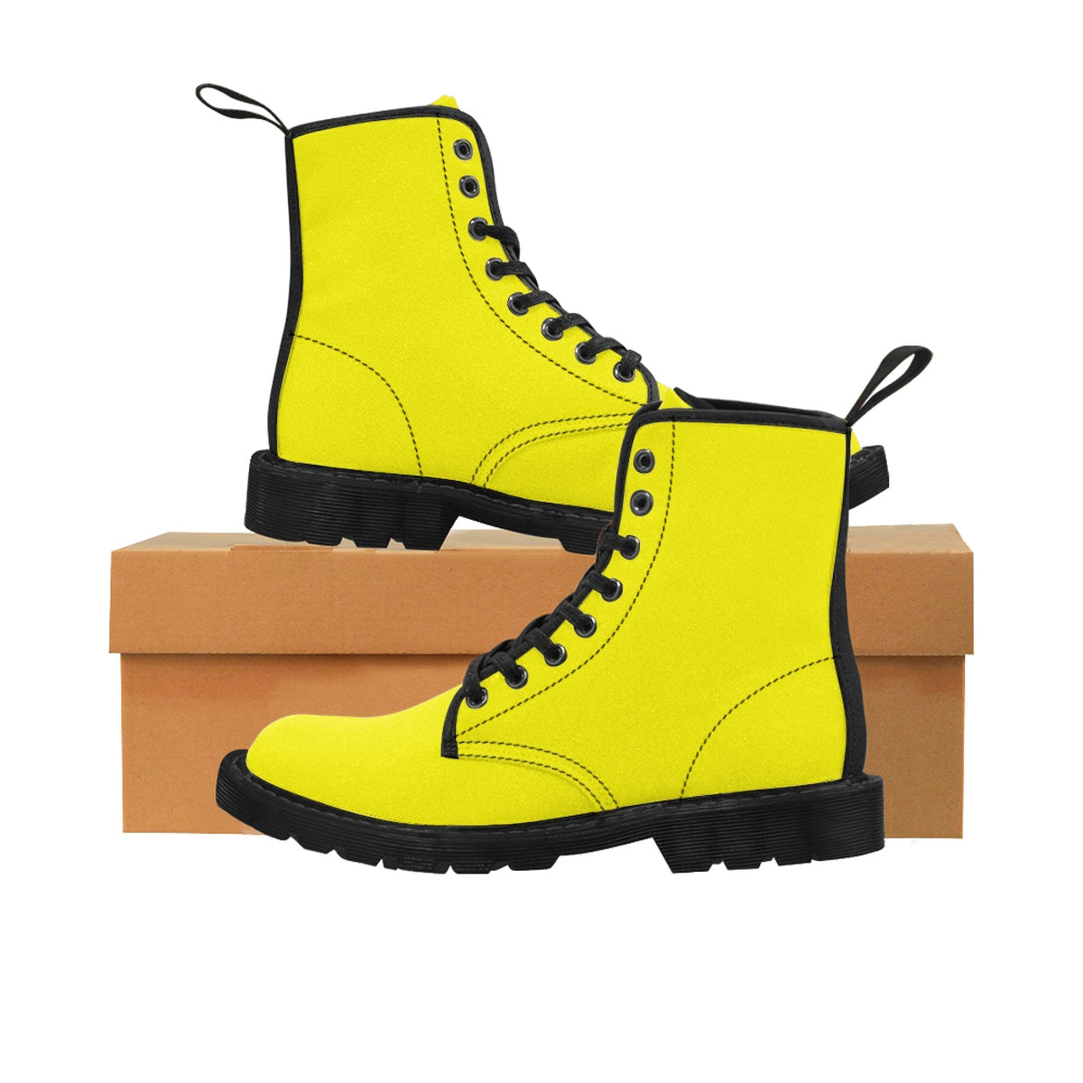 Bright Lemon Yellow Solid Color Print Men's Canvas Winter Laced Up Boots Shoes-Men's Boots-Black-US 9-Heidi Kimura Art LLC Yellow Men's Boots, Bright Lemon Yellow Solid Color Print  Men's Canvas Winter Bestseller Premium Quality Laced Up Boots Anti Heat + Moisture Designer Men's Winter Boots (US Size: 7-10.5)
