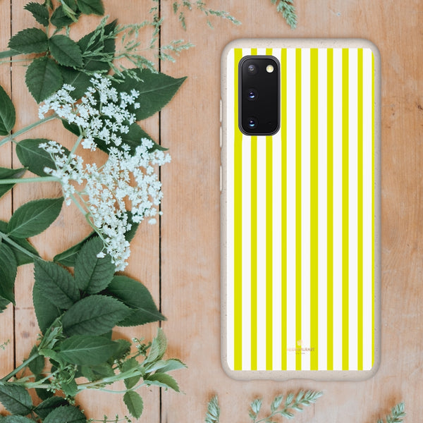 Yellow White Striped Biodegradable Case, Eco-Friendly Compostable Slim Lightweight Phone Case-Phone Case-Printify-WOYC-Samsung Galaxy S20-Heidi Kimura Art LLC