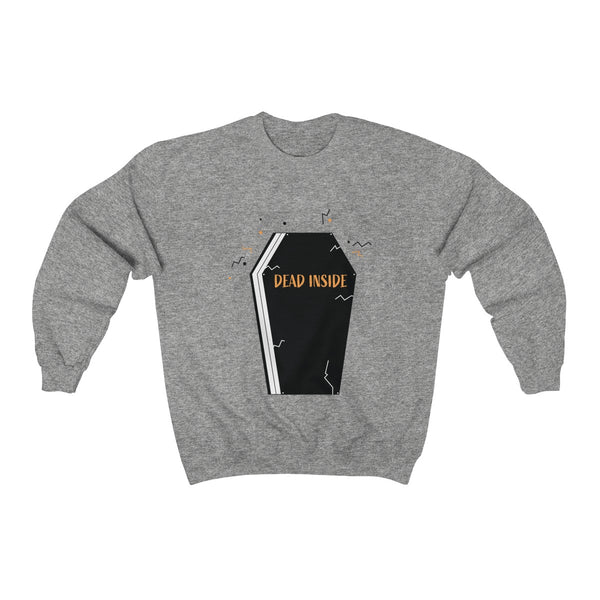 Dead Inside Coffin Halloween Party Unisex Premium Crewneck Sweatshirt-Made in USA-Long-sleeve-Sport Grey-S-Heidi Kimura Art LLC