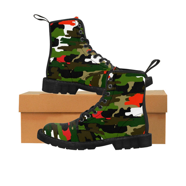 Green Red Camouflage Military Army Print Men's Canvas Winter Laced Up Boots-Men's Boots-Black-US 9-Heidi Kimura Art LLC Green Red Camo Men's Boots, Green Red Camouflage Military Army Print Men's Canvas Winter Laced Up Boots Anti Heat + Moisture Designer Men's Winter Boots (US Size: 7-10.5)