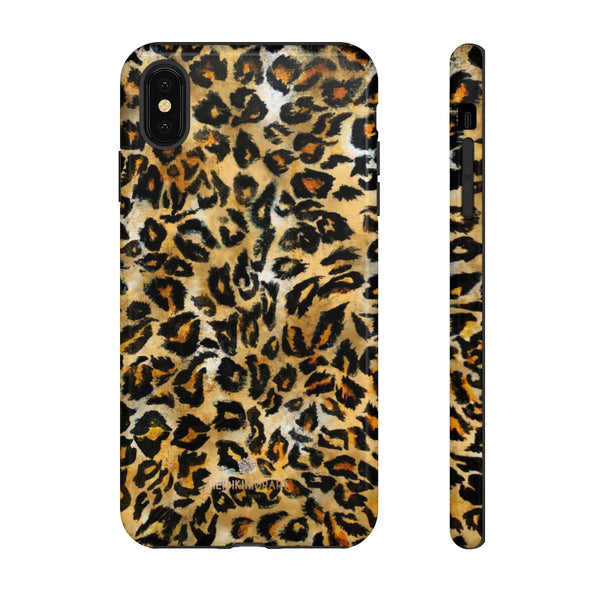 Brown Leopard Tough Cases, Animal Print Best Designer Phone Case-Made in USA-Phone Case-Printify-iPhone XS MAX-Glossy-Heidi Kimura Art LLC