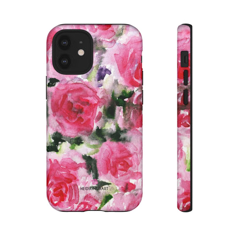 Rose Pink Floral Phone Case, Flower Print Best Designer Art Designer Case Mate Best Tough Phone Case For iPhones and Samsung Galaxy Devices-Made in USA