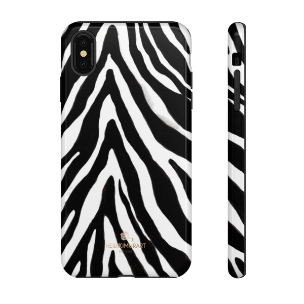 Zebra Stripe Phone Case, Animal Print Tough Designer Phone Case -Made in USA-Phone Case-Printify-iPhone XS MAX-Glossy-Heidi Kimura Art LLC
