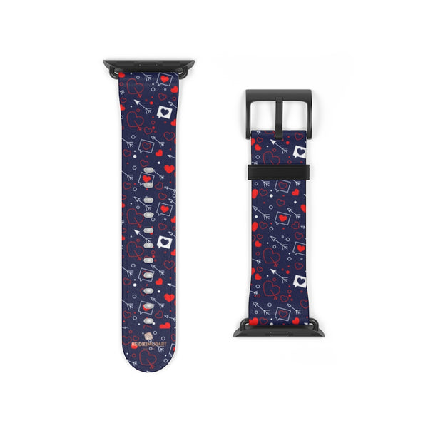 Fun Red Hearts Shaped V Day 38mm/42mm Watch Band For Apple Watch- Made in USA-Watch Band-38 mm-Black Matte-Heidi Kimura Art LLC