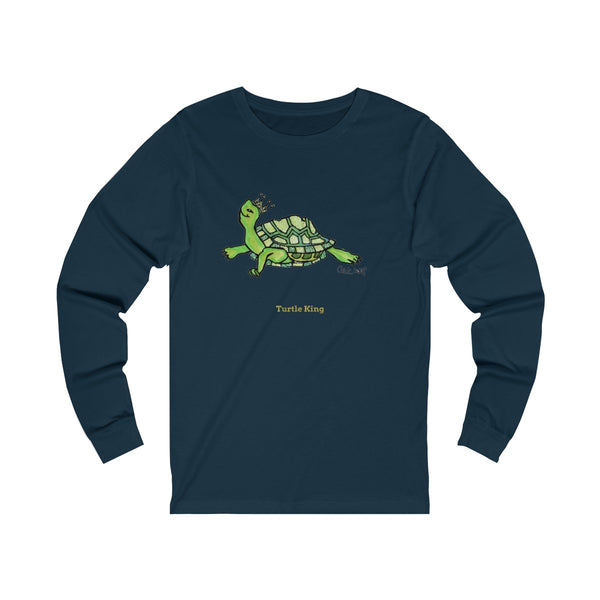 Turtle King Unisex Jersey Long Sleeve Tee Unisex T-Shirt, Made in USA (Size: X-2XL)-Long-sleeve-Navy-S-Heidi Kimura Art LLC
