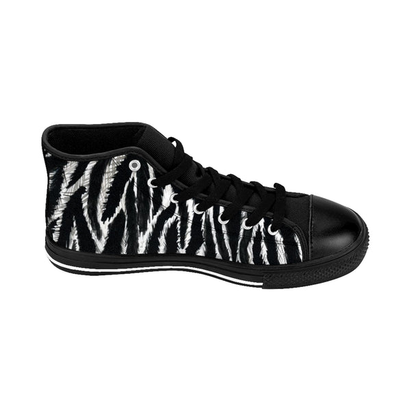 "Black Zebra Women's Sneakers, Striped Animal Print Designer High-top Fashion Tennis Shoes-Shoes-Printify-Heidi Kimura Art LLCZebra Women's Sneakers, Striped Animal Print 5"" Calf Height Women's High-Top Sneakers Running Canvas Shoes (US Size: 6-12)"