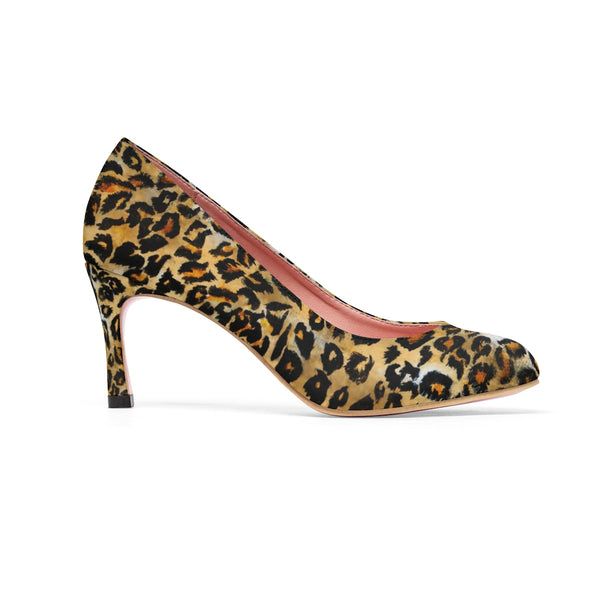"Snow Leopard Skin Pattern Animal Print Designer Women's 3"" High Heels Shoes-3 inch Heels-Heidi Kimura Art LLC"