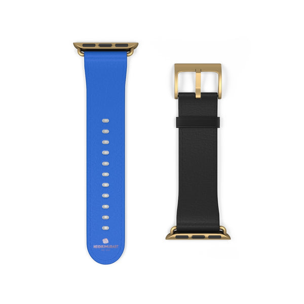 Blue Black Duo Solid Color Print 38mm/42mm Watch Band For Apple Watch- Made in USA-Watch Band-38 mm-Gold Matte-Heidi Kimura Art LLC