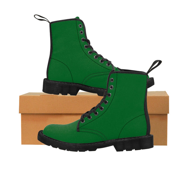 Emerald Green Seattle Solid Color Print Men's Canvas Winter Laced Up Boots Shoes-Men's Boots-Black-US 9-Heidi Kimura Art LLC Dark Green Men's Boots, Emerald Green Seattle Solid Color Print Men's Canvas Winter Bestseller Premium Quality Laced Up Boots Anti Heat + Moisture Designer Men's Winter Boots (US Size: 7-10.5)