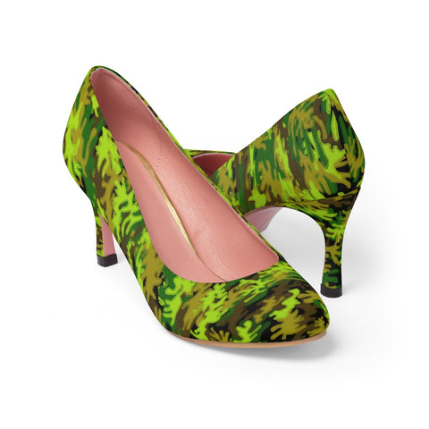 Black Green White Camo Military Army Print Green Camo High Heels, Black Green White Camo Military Army Print Premium Women's 3 inch Designer High Heels Shoes Stylish Pumps, Camouflage Heels, Camo Heels, Camo Shoes, Green Camo Heel, Army Camo High Heels, Camouflage High Heel Shoes (US Size: 5-11) Premium Women's High Heels Pumps Shoes-3 inch Heels-US 7-Heidi Kimura Art LLC
