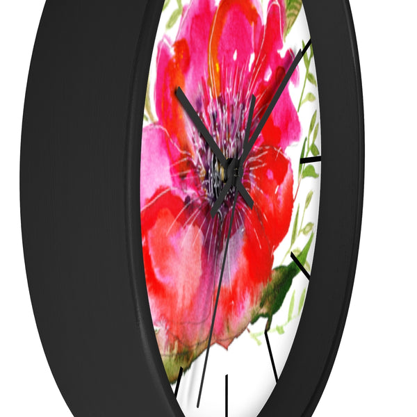 "Pink Hibiscus Floral Print Wall Clock, 10"" Dia. Modern Unique Indoor Clock-Made in USA-Wall Clock-Heidi Kimura Art LLC Pink Hibiscus Floral Clock, Hot Pink Hibiscus Floral Print 10 inch Diameter Modern Unique Indoor Wall Clock - Made in USA"