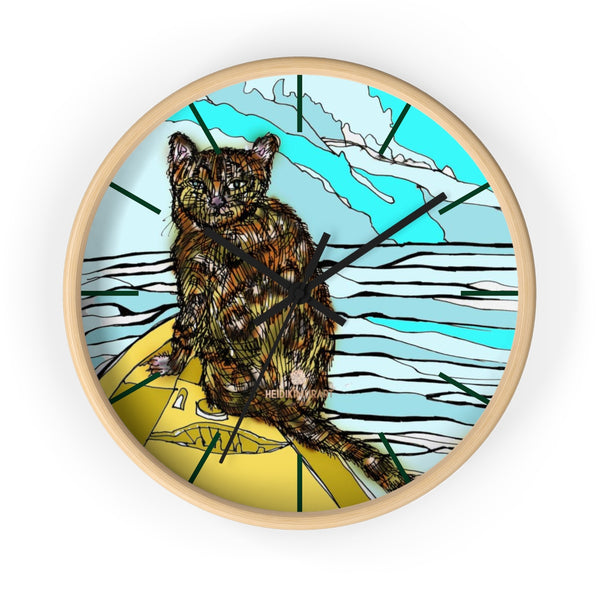 Boat Cat Print Wall Clock, Brown Orange Cat Print 10 in. Dia. Indoor Clock- Made in USA-Wall Clock-10 in-Wooden-Black-Heidi Kimura Art LLC