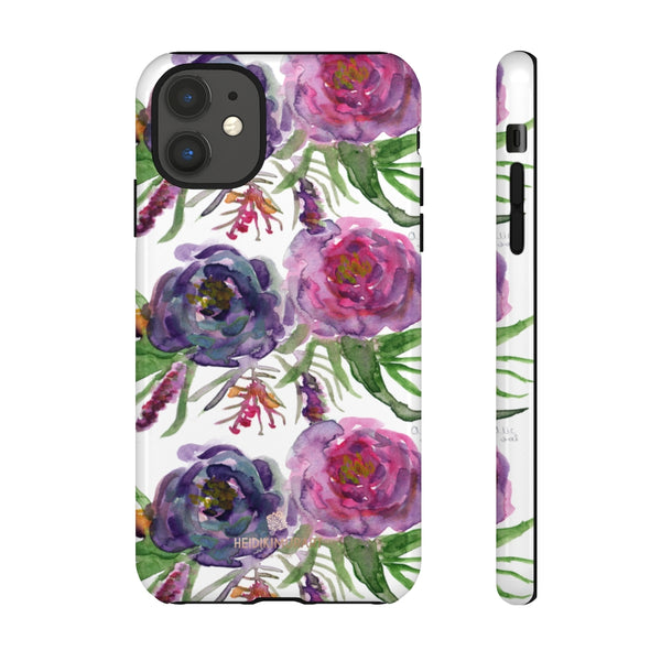 Pink Floral Print Phone Case, Roses Tough Designer Phone Case -Made in USA-Phone Case-Printify-iPhone 11-Glossy-Heidi Kimura Art LLC