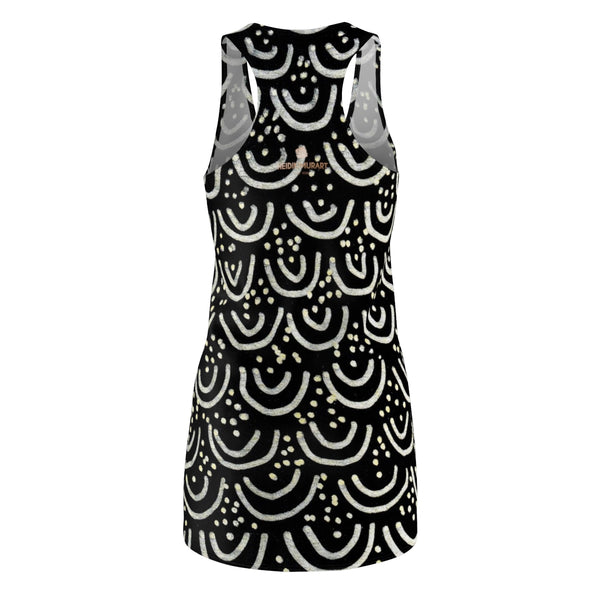 Elegant Black Mermaid Print Premium Women's Long Sleeveless Racerback Dress-Made in USA-Women's Sleeveless Dress-Heidi Kimura Art LLC