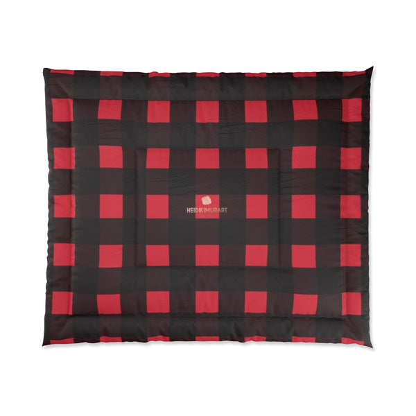 Red Buffalo Plaid Print Best Comforter For King/Queen/Full/Twin Bed - Made in USA-Comforter-104x88 (King Size)-Heidi Kimura Art LLC