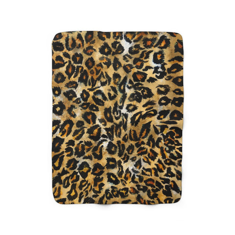 Cute Leopard Animal Print Designer Cozy Soft Sherpa Fleece Blanket - Made in USA-Blanket-50'' x 60''-Heidi Kimura Art LLC