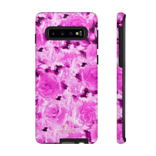 Hot Pink Floral Print Phone Case, Abstract Print Tough Cases, Designer Phone Case-Made in USA-Phone Case-Printify-Samsung Galaxy S10-Matte-Heidi Kimura Art LLC