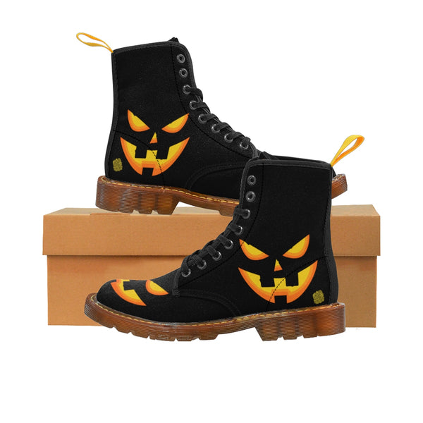 Halloween Pumpkin Face Men's Lace-Up Winter Boots Men's Shoes (US Size: 7-10.5)-Men's Winter Boots-Brown-US 8-Heidi Kimura Art LLC