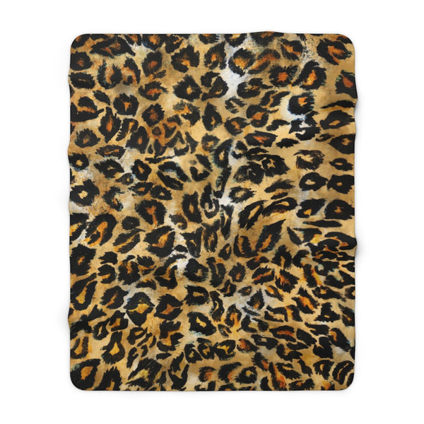 "Cute Leopard Animal Print Designer Cozy Soft Sherpa Fleece Blanket - Made in USA-Blanket-60"" x 80""-Heidi Kimura Art LLC"