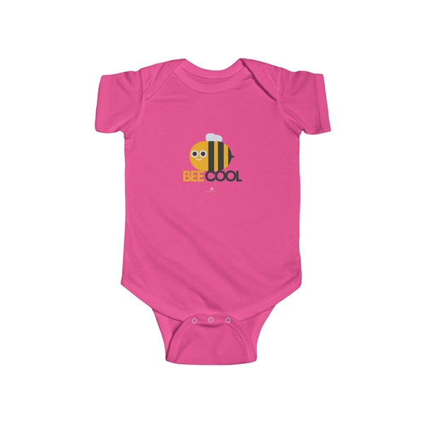 Bee Cotton Kids Bodysuit, Cool Infant Fine Jersey Regular Fit Unisex Clothes - Made in UK-Infant Short Sleeve Bodysuit-Hot Pink-NB-Heidi Kimura Art LLC
