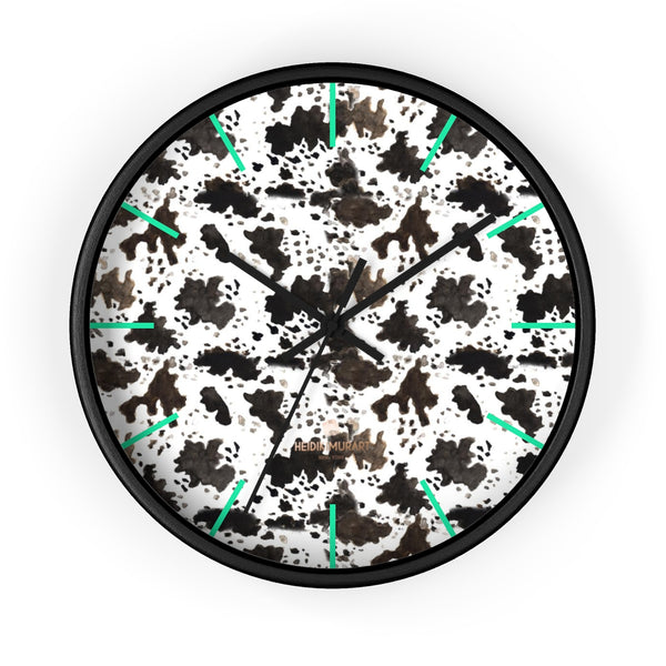 Cow Print Designer 10 in. Dia. Indoor Nursery Kitchen Wall Clock- Made in USA-Wall Clock-10 in-Black-Black-Heidi Kimura Art LLC