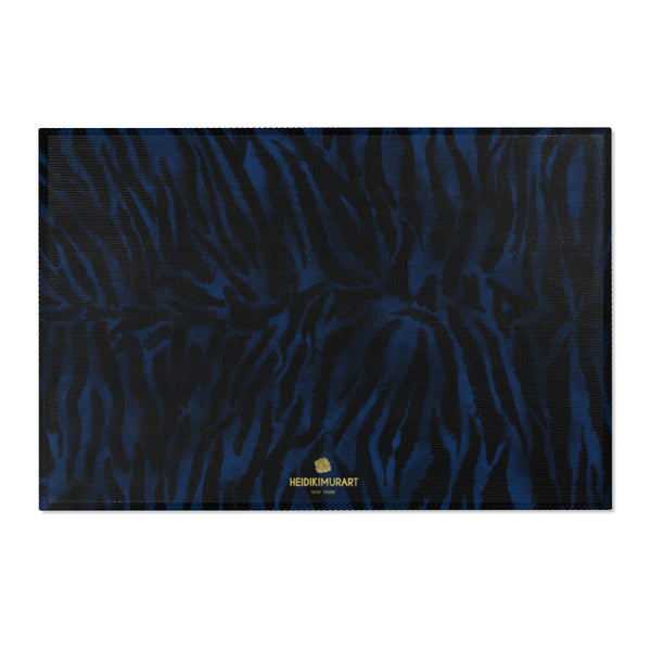 "Navy Blue Black Tiger Stripe Animal Print Designer Indoor Area Rug - Printed in USA-Area Rug-36"" x 24""-Heidi Kimura Art LLC"