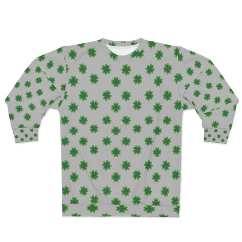 Light Gray St. Patrick's Day Green Clover Print Unisex Couple's Sweatshirt- Made in USA-Unisex Sweatshirt-2XL-Heidi Kimura Art LLC