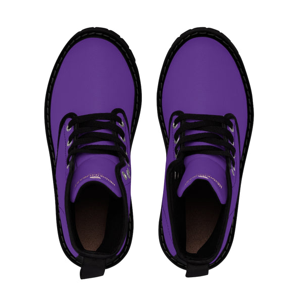 Dark Purple Women's Hiking Boots, Purple Classic Solid Color Designer Women's Winter Lace-up Toe Cap Hiking Canvas Boots Shoes (US Size: 6.5-11)