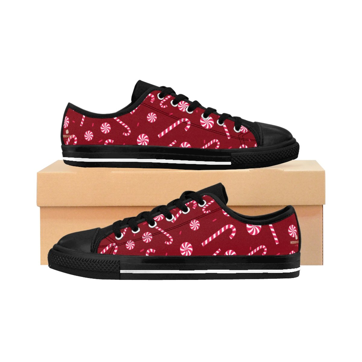 Burgundy Red White Candy Cane Christmas Print Men's Low Top Sneakers Tennis Shoes-Men's Low Top Sneakers-Black-US 9-Heidi Kimura Art LLC