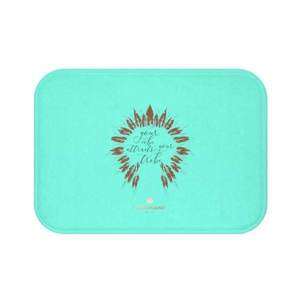 "Turquoise Blue ""Your Vibe Attracts Your Tribe"", Inspirational Bath Mat- Printed in USA-Bath Mat-Small 24x17-Heidi Kimura Art LLC"