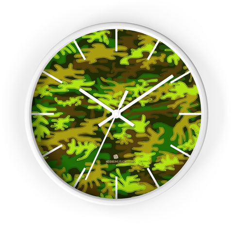 Bright Green Camo Camouflage Military Army Print Large Unique Wall Clocks- Made in USA-Wall Clock-10 in-White-White-Heidi Kimura Art LLC