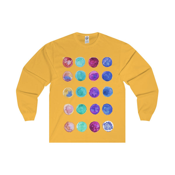 Polka Dots Unisex Designer Premium Long Sleeve Tee - Designed + Made in USA-Long-sleeve-Gold-S-Heidi Kimura Art LLC