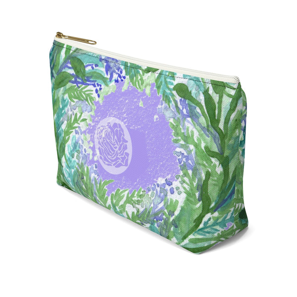 French Lavender Floral Print Accessory Pouch with T-bottom - Made in USA-Accessory Pouch-Heidi Kimura Art LLC