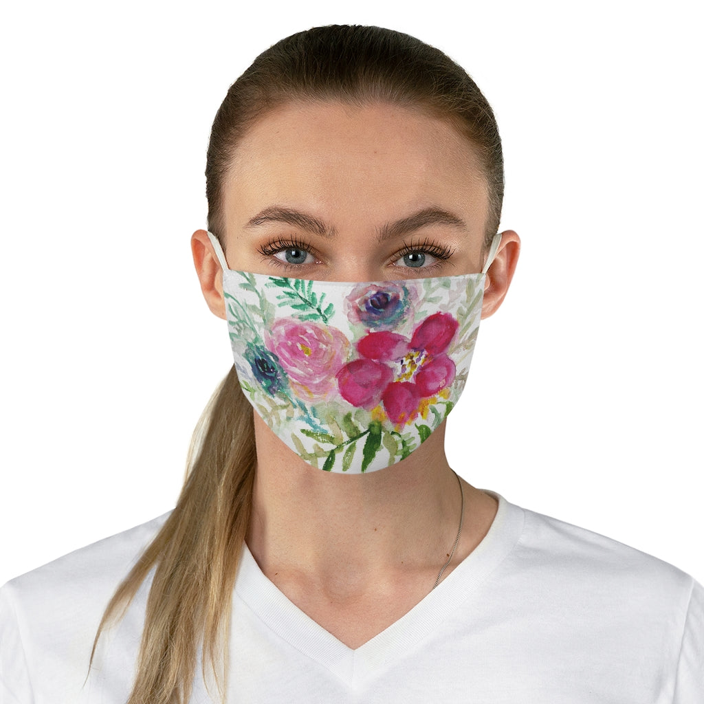 "Mixed Floral Rose Print Face Mask, Adult Modern Flower Fabric Face Mask-Made in USA-Accessories-Printify-One size-Heidi Kimura Art LLC Mixed Floral Print Face Mask, Flower Elegant Designer Fashion Face Mask For Men/ Women, Designer Premium Quality Modern Polyester Fashion 7.25"" x 4.63"" Fabric Non-Medical Reusable Washable Chic One-Size Face Mask With 2 Layers For Adults With Elastic Loops-Made in USA"