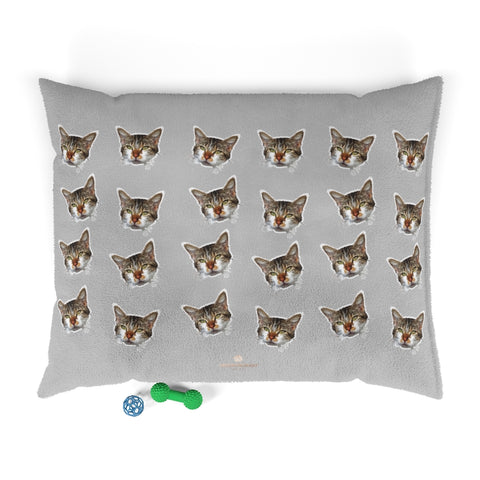 Light Grey Cat Pet Bed, Solid Color Machine-Washable Pet Pillow With Zippers-Printed in USA-Pets-Printify-50x40-Heidi Kimura Art LLC
