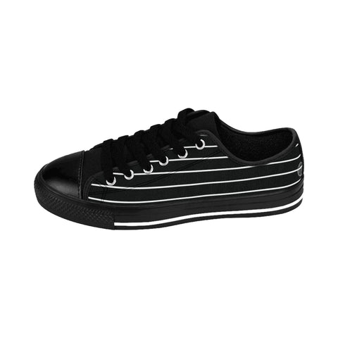 Black Stripes Print Men's Sneakers, Best Modern Striped Designer Men's Low Tops, Premium Men's Nylon Canvas Tennis Fashion Sneakers Shoes (US Size: 7-14)