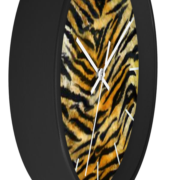 "Stylish Tiger Stripe Faux Fur Pattern Animal Print 10"" Diameter Wall Clock - Made in USA-Wall Clock-Heidi Kimura Art LLC"