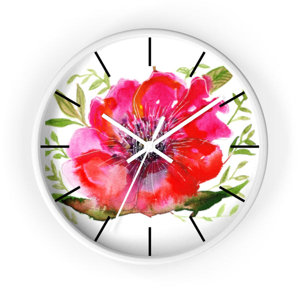 "Pink Hibiscus Floral Print Wall Clock, 10"" Dia. Modern Unique Indoor Clock-Made in USA-Wall Clock-White-White-Heidi Kimura Art LLC Pink Hibiscus Floral Clock, Hot Pink Hibiscus Floral Print 10 inch Diameter Modern Unique Indoor Wall Clock - Made in USA"
