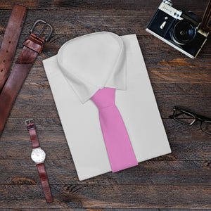 Pink Solid Color Printed Soft Satin Finish Necktie Mens Fashion Tie- Made in USA-Necktie-One Size-Heidi Kimura Art LLC
