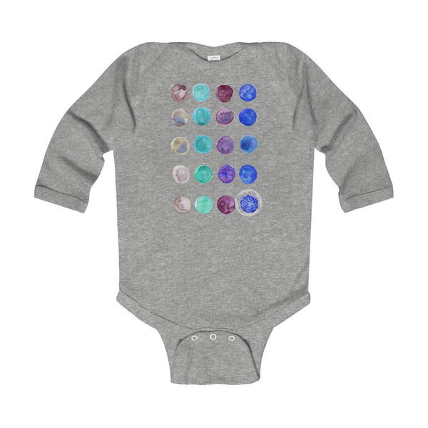 Polka Dots Infant Long Sleeve Bodysuit - Made in United Kingdom (UK Size: 6M-24M)-Kids clothes-Heather-12M-Heidi Kimura Art LLC