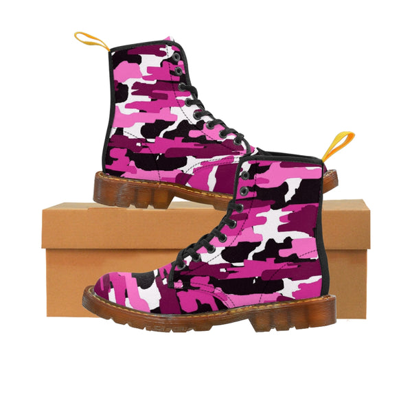 Purple Camo Women's Canvas Boots, Camouflage Military Army Print Winter Boots For Ladies-Women's Boots-Printify-ArtsAdd-Brown-US 8.5-Heidi Kimura Art LLC