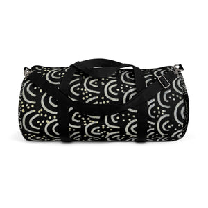 African Tribal Print Duffel Bag, Black Gold All Day Small Or Large Size Bag, Made in USA-Duffel Bag-Small-Heidi Kimura Art LLC