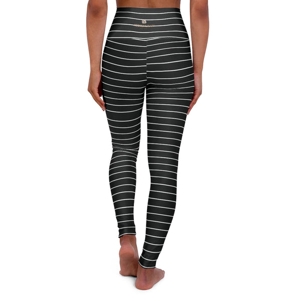 Black Striped Tights, High Waisted Yoga Leggings, Black White Stripes Women's Tights - Made in USA-All Over Prints-Printify-Heidi Kimura Art LLC